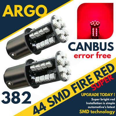 2 X Red Tail/stop/brake Led Canbus Bulbs Error Free 382 1156 P21W Ba15S 44 Smd