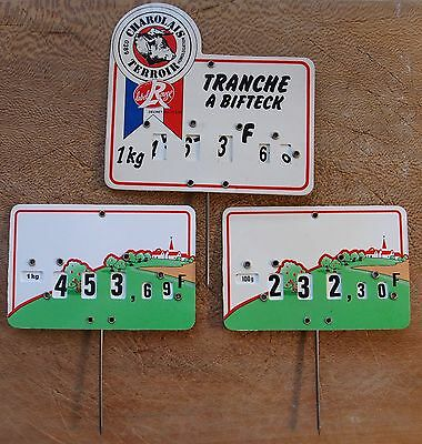 3 VINTAGE FRENCH BUTCHER SHOP MEAT PRICE LABEL SIGN Kitchen decoration decor N3