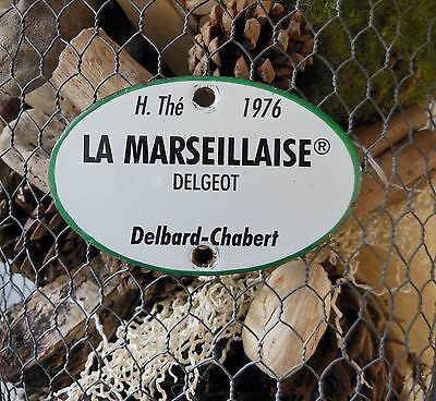 VINTAGE FRENCH ENAMEL SIGN LABEL PLAQUE La Marseilllaise flower name Garden door