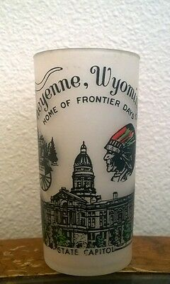 """Vintage Frontier Days Cheyenne WY Drinking Glass 5"""" Souvenir Cup"""