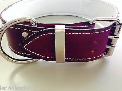 Large Violet Leather Dog Collar with Soft White Leather Inner Lining