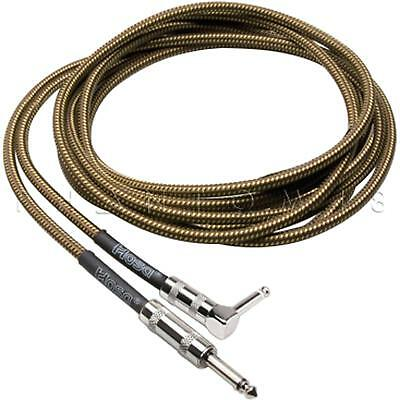 Hosa Technology GTR-518R Tweed Guitar Cable Cord Straight to Right-Angle - 18 ft