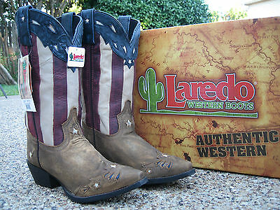 e6a8f3c9f6a5e3 NEW Ladies Laredo Keyes Stars and Stripes Patriotic Leather Western Cowboy  Boots