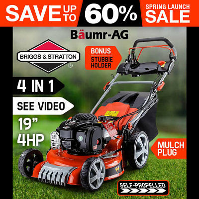"""NEW 19"""" Lawnmower Self Propelled Lawn Mower Briggs & Stratton 4 in 1 Baumr-AG"""