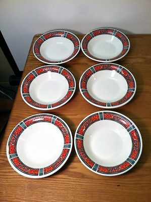 Coca Cola Gibson set of 6 Bowls-Stained Glass Look-1996 Coke-Collectible
