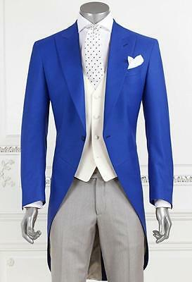 Men Tailcoat Royal Blue Jacket Morning Suit Bespoke Groom Tuxedo Vest and Pants