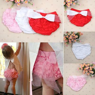 3Color Toddler Baby Girl Cotton Ruffle PP Pants Bloomers Diaper Nappy Cover  B46