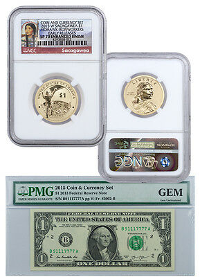 2015 Coin & Currency Set: Enhanced Sacagawea Dollar $1 Note NGC SP70 ER SKU37123