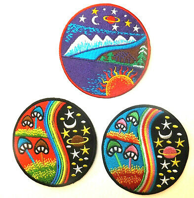 PSYCHEDELIC MUSHROOM, MOON, STAR, NATURE PATCH; 3 designs; SEW-ON/IRON-ON *BN*