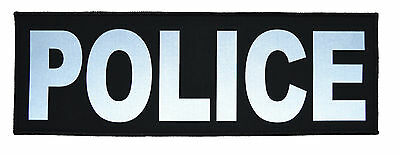 Reflective POLICE Patch - 4inch x 12inch Police Military Morale Patch