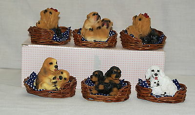 Dog in Wicker Basket Mother Puppy Resin Various Breeds Lot of 6 Original Box