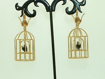 9Carat Gold Bird Cage Dangle drop Earrings with Blackbird