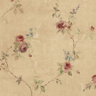 Beautiful Rose Vine Watercolor Wallpaper on Tan Background SP24431 Double Roll