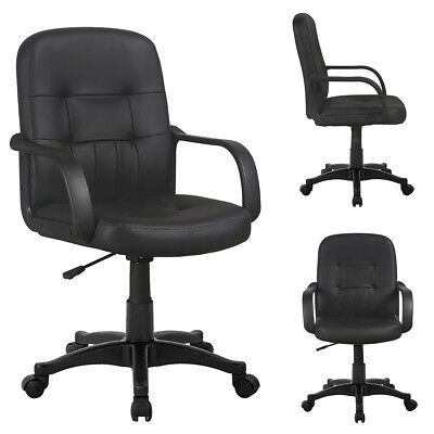 Adjustable Swivel Office Chair Comfort PU Leather Pad Mid-Back Computer Desk New