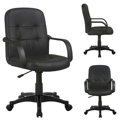 Black Faux Leather Office Chair Swivel PC Computer Desk Seat Adjustable Armchair