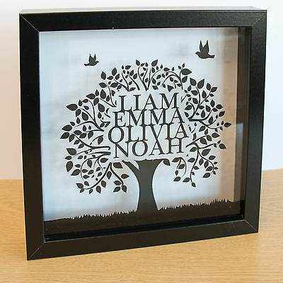 Family Tree Frame Perfect Gift Custom Printed in Black Frame 23x23cm by stika.co