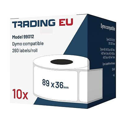 10x Label kompat. zu Dymo 99012 36 x 89 mm 260 Label Etiketten pro Rolle