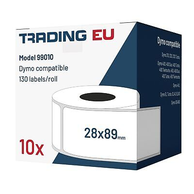 10x Label kompat. zu Dymo 99010 28 x 89 mm 130 Label Etiketten pro Rolle