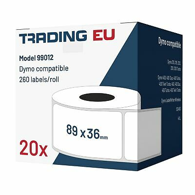 20x Label kompat. zu Dymo 99012 36 x 89 mm 260 Label Etiketten pro Rolle