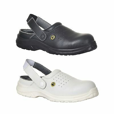 Safety Clogs Perforated Shoes Lightweight Steel Toe Cap Chefs Baker Kitchen FC03