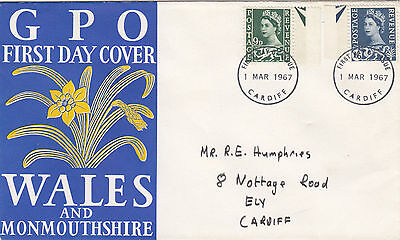 (46786) CLEARANCE GB Wales FDC 4d - Cardiff 1 March 1967 FAIR to GOOD CONDITION