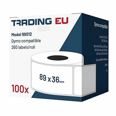 100x Label kompat. zu Dymo 99012 36 x 89 mm 260 Label Etiketten pro Rolle