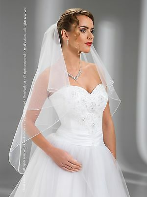 2 Tier Pencil Edge Wedding Fingertip Veil With Comb Attached W-74