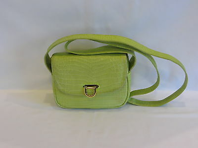 Rangoni of Florence Italy Lime Green Thick Embossed Leather Cross Body Bag - GR8