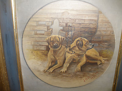 19thc Antique 1875 oil painting signed artist CURTIS signed two dogs oil board