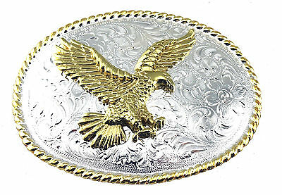 Western Cowboy 3D Eagle Engraved Rope Edge Oval Shiny Silver & Gold Belt Buckle