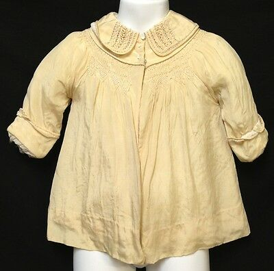 Vintage 1920s Toddler Jacket Childs Yellow Coat Lined Embroidered Chest Collar