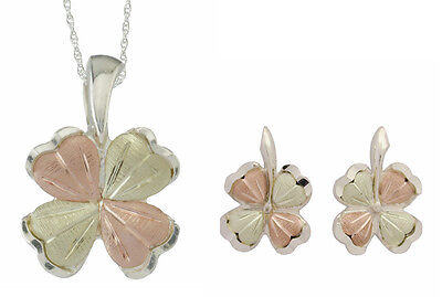 """Black Hills Gold & Silver Clover Jewelry Set Stud Earrings 18"""" Chain 25306/50276"""