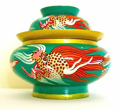 Green Tibetan Dragon Covered Bowl, Sustainable Mango Wood, Hand Painted