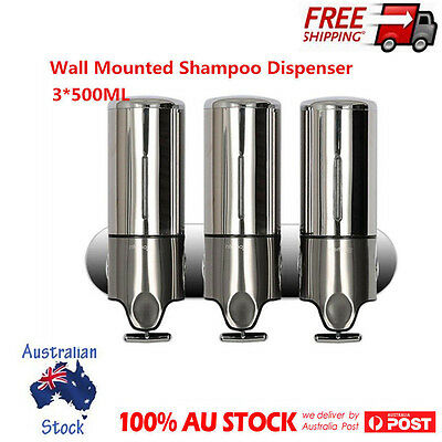 Stainless Steel Wall Mounted Shampoo Dispenser Shower Liquid Lotion Conditioners