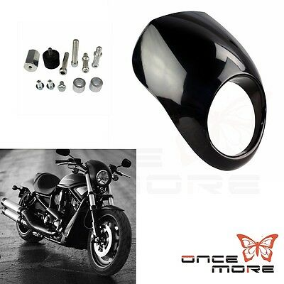 Headlight Fairing Cowl Fork Mount For Harley Sportster XL Dyna Glide Black