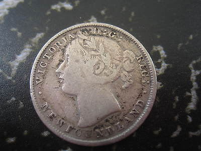 1870 Key Date Silver 20 Cent * Low Mintage * Victoria Newfoundland Coin
