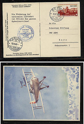 Switzerland  C36 on great airmail card  first flight  1943       WG0622