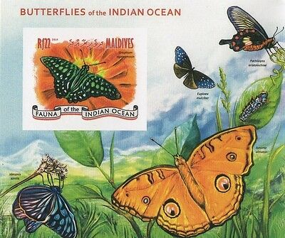 2014 Butterfly Insects Fauna Of The Indian Ocean Imperforated Mnh Stamp Sheetlet