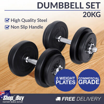 20KG Dumbbell Set Home Gym Fitness Exercise Body Workout Adjustable Weights