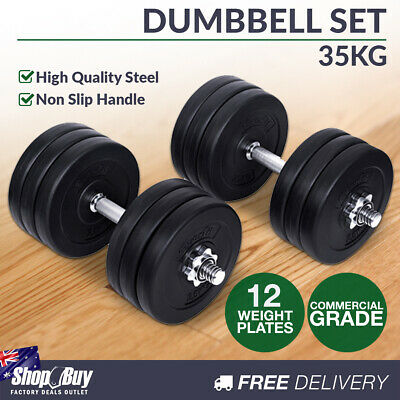 35KG Dumbbell Set Home Gym Fitness Exercise Body Workout Adjustable Weights