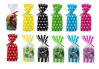 Cello Party Favor Loot Lolly Bags Wedding Favor Gift Bag Dots & Stripes Clear
