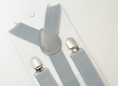Light Gray Adjustable Suspenders Y-Back size 8month- Adult Mens Kids Boys Baby