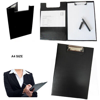 A4 Black Clipboard Solid Fold-Over New Office Document Holder Filling Clip Board