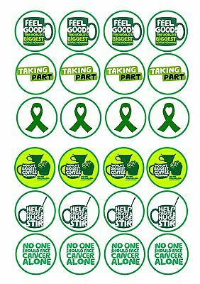 24 icing cupcake cake toppers edible Macmillan Cancer Research coffee morning