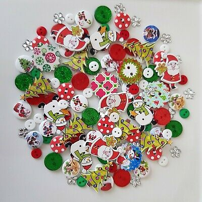 100 New Christmas Buttons Embellishments Xmas Card Making Scrapbooking Craft