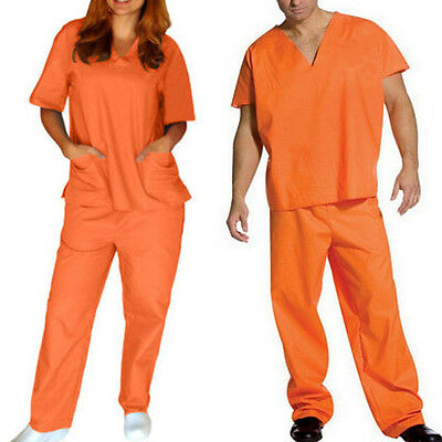 Orange Prisoner Scrub Convict Inmate Jail Unisex set Top and Pants For Halloween