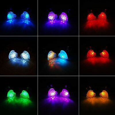 Party Decorations: 9 Pairs LED Heart-Shape Studs Glowing Pendant Flash Earrings