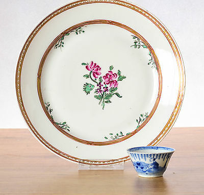 Lovely! 18th c Qianlong Famille Rose Lowestoft Delicate Plate Flowers Qing
