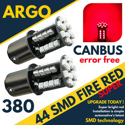 44 Smd Led Canbus Error Free Ultra Red 380 1157 P21/5W Bay15D Rear Fog Bulbs Hid