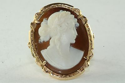Gorgeous Large Vtg Antique 14K Gold Cameo Ring Size 7.25 Demeter Wheat